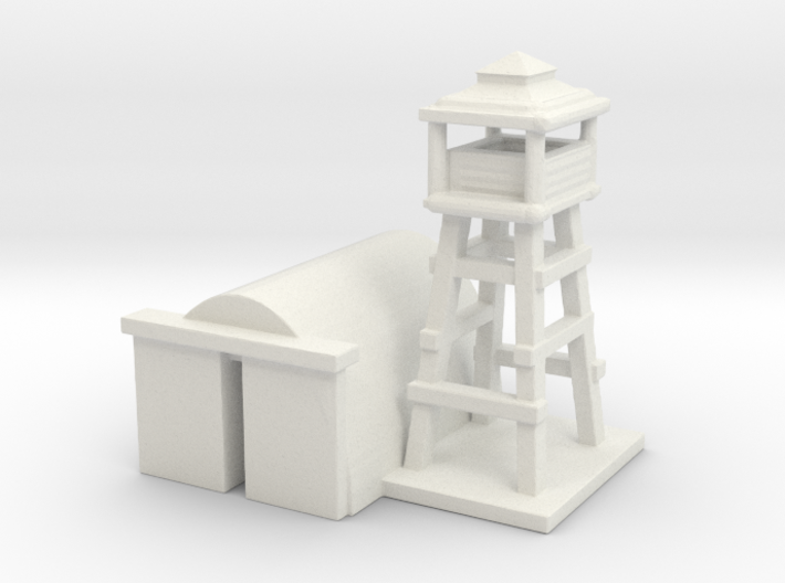 1/285 Airport Tower w/ Hanger 3d printed
