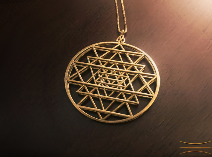 2.5D Sri-Yantra 4.5cm (Raw Metals) 3d printed Raw brass example featuring a customized loop embellishment, contact for details