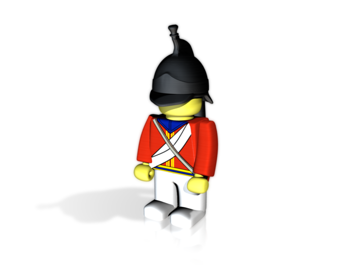 British Dragoon Guard 3d printed Example figurine wearing the helmet in black Hi-Def Acrylate