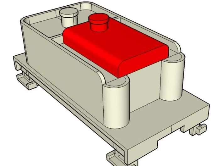 Small Oil Tank for F&C Tender , HOn30 3d printed The tank (red) plugs into the tender (not included)