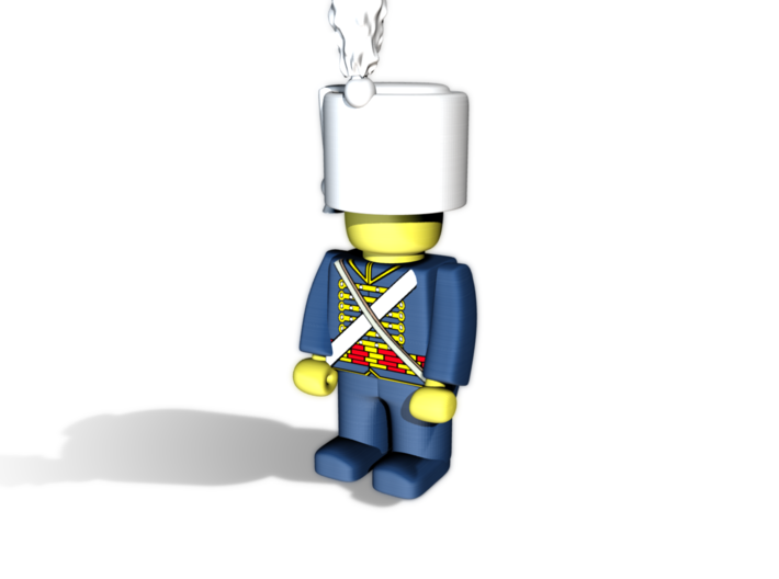 Hussar Shako w Plume  3d printed Example figurine (French Hussar) wearing the helmet in black Hi-Def Acrylate