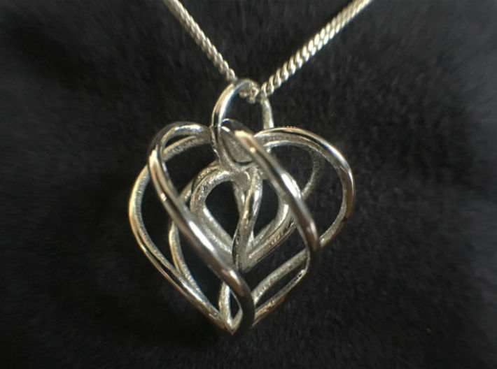 My Heart is Yours - Heart in a heart pendant 3d printed
