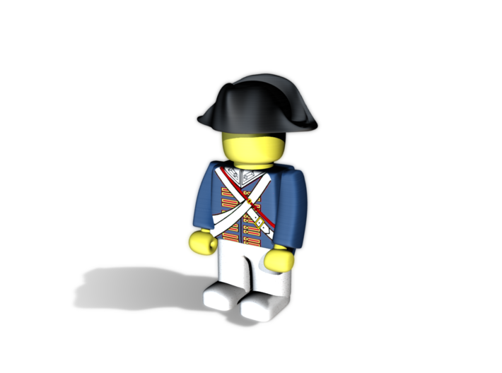 British Navy Bicorne 3d printed Example figurine wearing the helmet in black Hi-Def Acrylate
