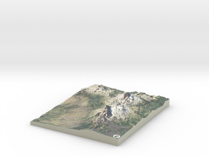 "Three Sisters Volcanic Peaks, Oregon: 8""x10"" 3d printed"