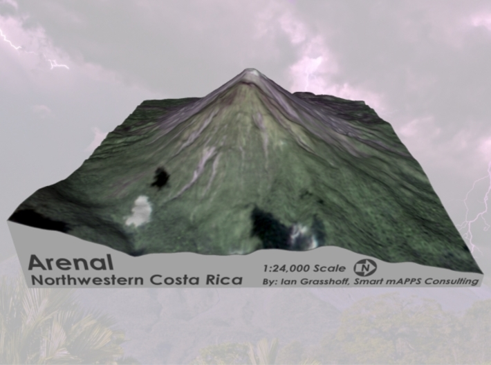 """Arenal Volcano, Costa Rica: 6"""" 3d printed"""