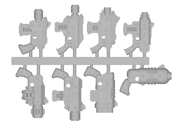 Pistols sprue (contains 8 different pistols) 3d printed