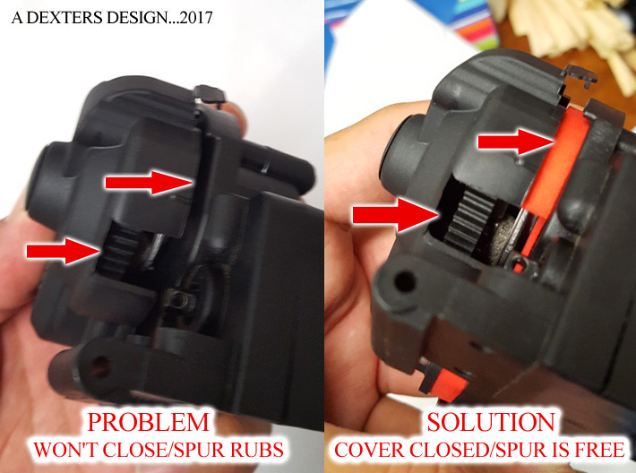 Dust Cover Extender for Traxxas 3d printed Shows How it is extended