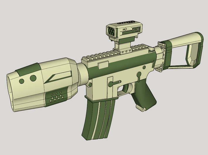 Gunder R4F SciFi CQB Rifle 3d printed Suggested Color Scheme with R4F