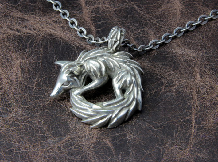 Fox Pendant 3d printed This material is Polished Silver , Patinated with bleach