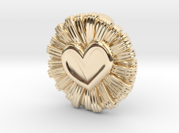 Daisy Heart Pendant 3d printed