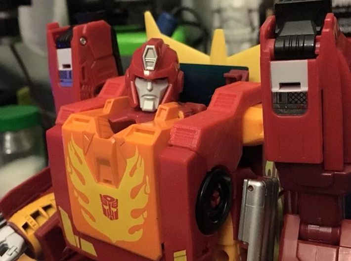 POTP Rodimus Prime or Unicronus shoulder filler 3d printed Please do note that this part is not from Shapeways. It was printed on my printer using Red PLA