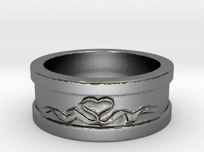 Heart Ribbon Valentine's Ring Size 8 3d printed