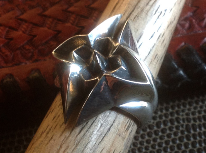 Flower Ring - Size - 9 (18.95 mm) 3d printed Shown in Polished Silver