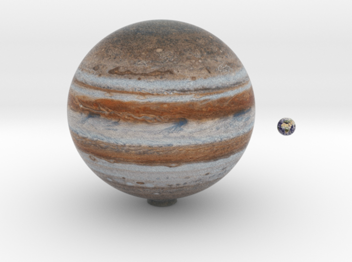 Jupiter & Earth to scale 3d printed