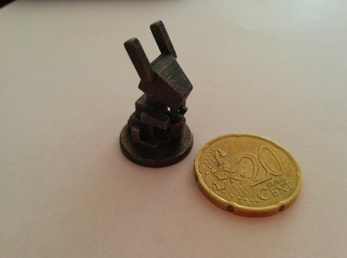 Rabbit & carrot simplified 3d printed Comparison with 50 cent