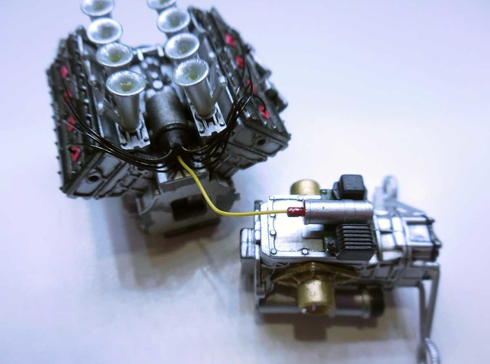 Set of 1/20th scale injection pumps for Cosworth D 3d printed Installed in the Ebbro's Lotus 49 DFV.