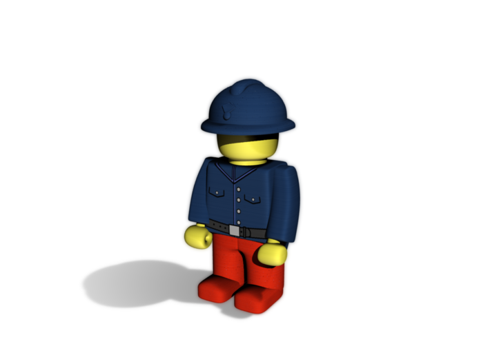 5 x Adrian 3d printed Example figurine wearing the helmet in  pWSF and colored blue