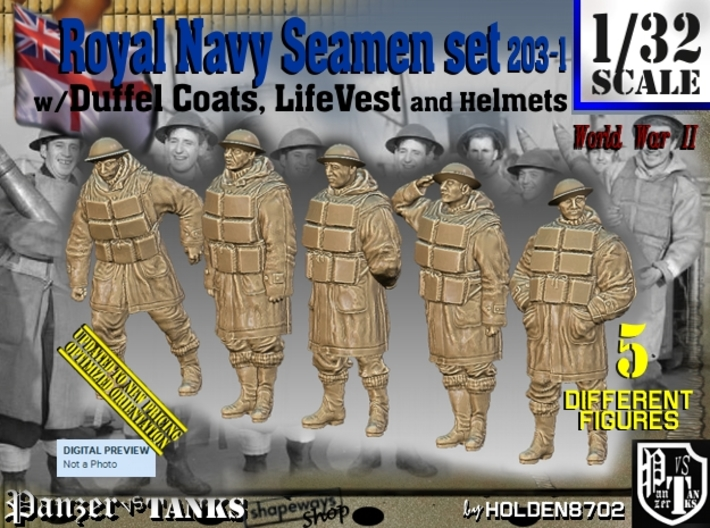 1/32 Royal Navy D-Coat+Lifevst Set203-1 3d printed