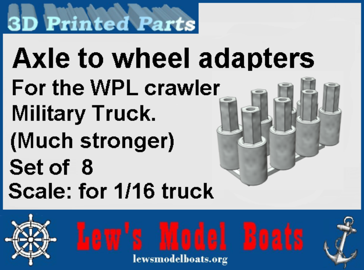 WPL rear axle wheel adapters (set of 8) 3d printed