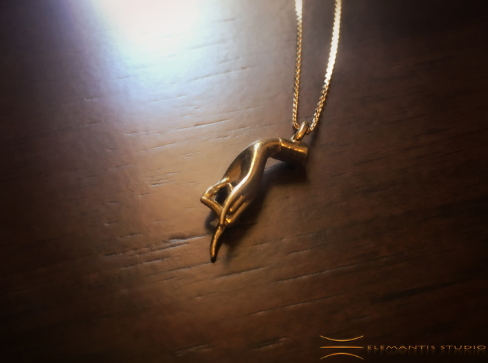 Karana Mudra V1 Pendant/ Charm 2.5cm 3d printed Raw Brass (chain not included)