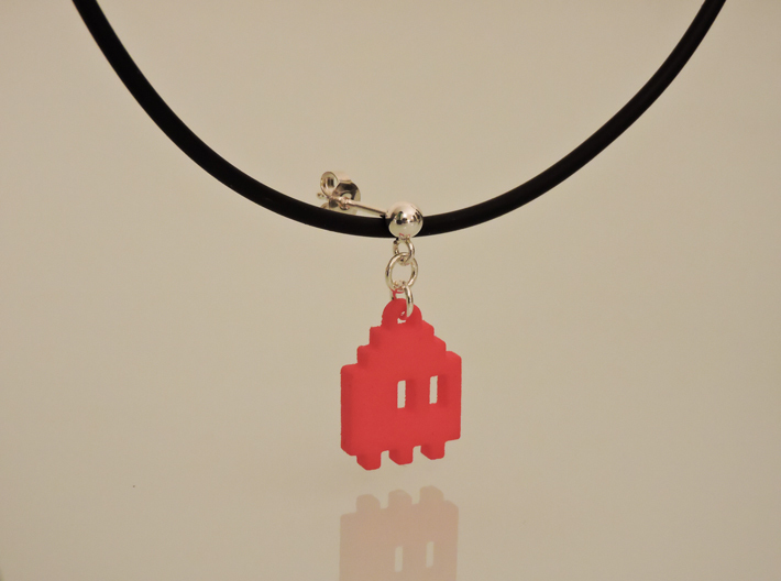 Pac Man Ghost 8-bit Earring 1 (afraid | moving) 3d printed NOT this model - Orange Strong & Flexible Polished