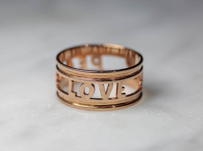Peace Love Joy, 14k Rose Gold Plated 3d printed
