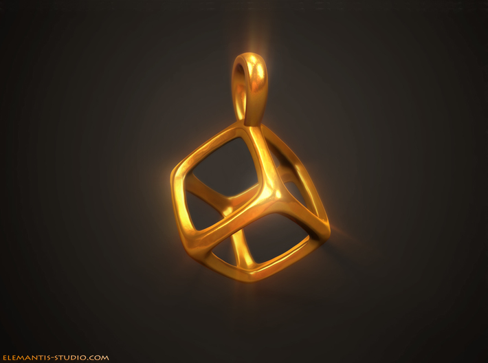 Hexahedron Platonic Solid Pendant 3d printed