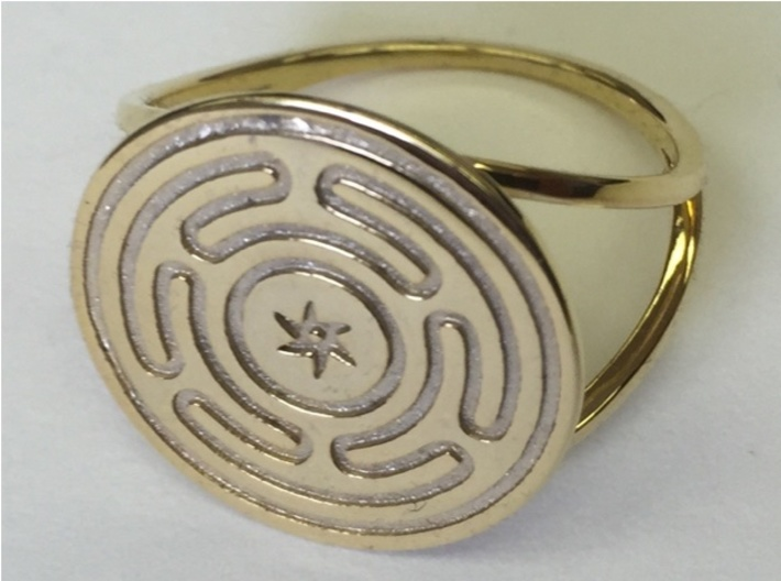 Wheel of Hecate ring 3d printed Hecate's Wheel in gold-plated over polished brass