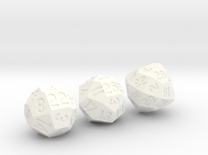 Set of 3 Dice: d22, d26, and d28 3d printed