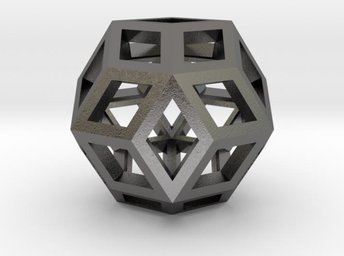"""Rhombic Triacontahedron Steel 1"""" 3d printed"""