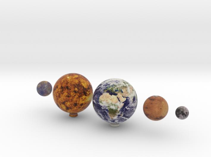 Mercury, Venus, Earth, Moon & Mars to scale 3d printed