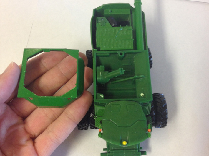 1: 64 S Scale John Deere S Series  Bin Extension 3d printed View of where the extension fits