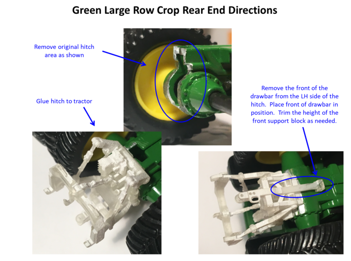 (2) GREEN 2014 & NEWER ROW-CROP REAR FIXED 3 PNT 3d printed