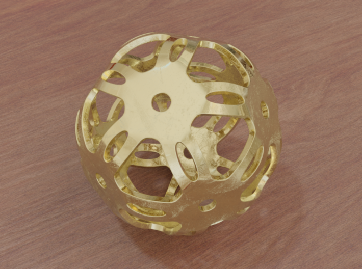 Well Rounded Symmetrical Sphere  3d printed Matte Gold (render)