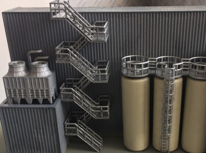 N Scale Staircase H80mm 3d printed Painted set of stairs to the roof and chiller roof of my new industrial building.