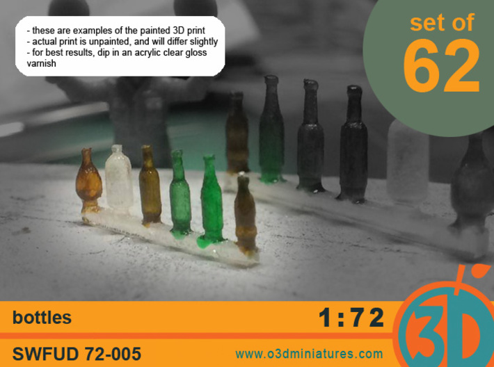 Bottles 1/72 scale SWFUD-72-005 3d printed painted print