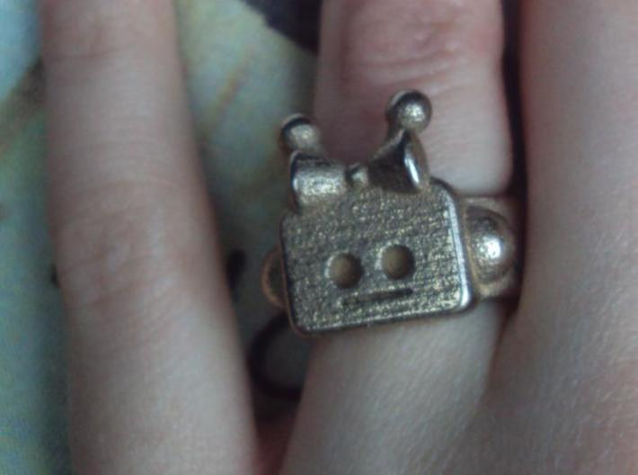 Girl Robot Ring 3d printed Stainless Steel