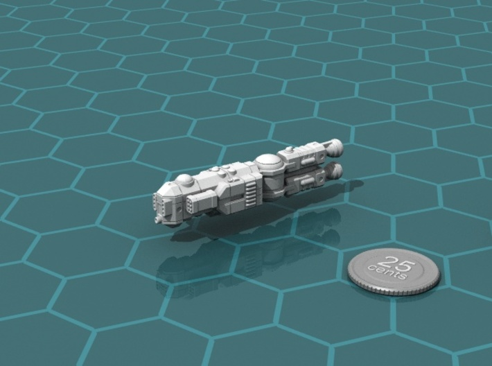 MCSF Light Cruiser 3d printed Render of the model, with a virtual quarter for scale.