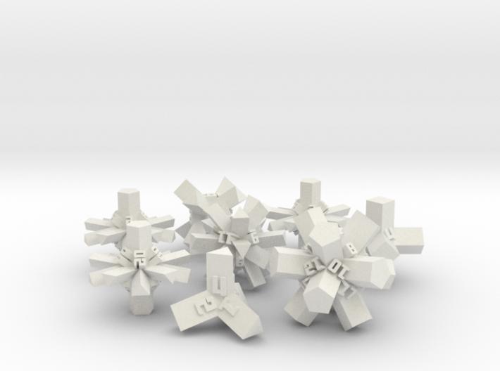 Brutalist Dice Set — Version 1 (8 pc.) 3d printed