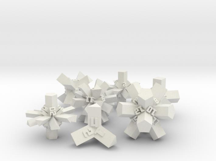Brutalist Dice Set — Version 1 (7 pc.) 3d printed