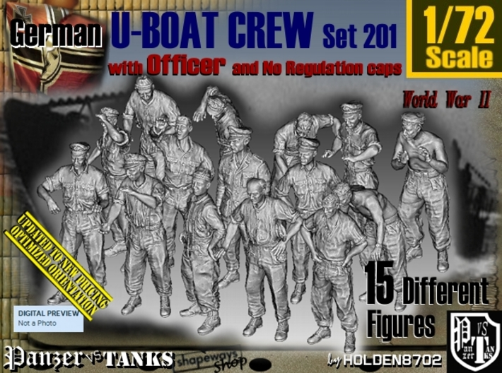 1/72 German U-Boot Crew Set201 3d printed