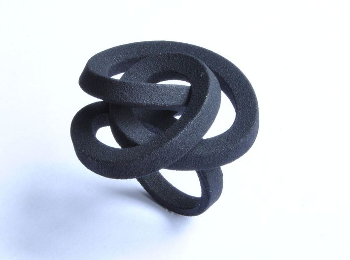 Ring Love is in the AIR Large 3d printed jewellery Nylon Black Ring