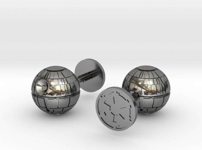 Death Star Cufflinks 3d printed