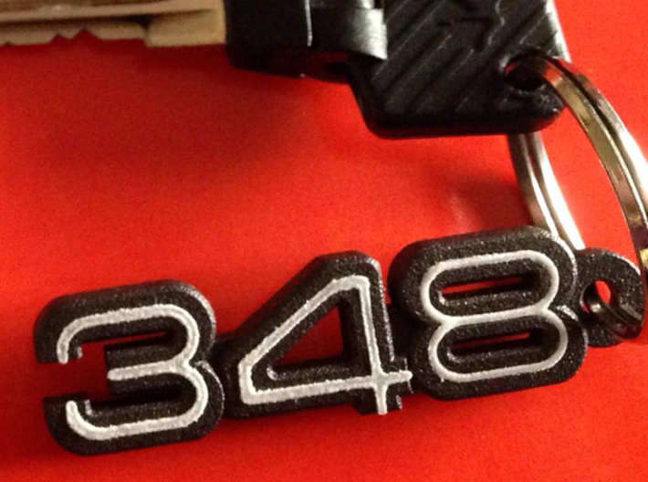 KEYCHAIN 348 LOGO IN BLACK 3d printed 348 logo keychain with white plastic inserts -you can buy them at the bottom of the page-.