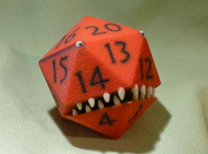 D20 Red Monster Figurine 3d printed Front and side