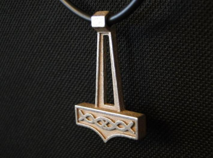 Pendant Thor V2 3d printed Stainless Steel