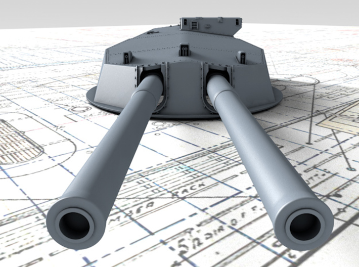 """1/350 HMS Australia/New Zealand 1914 12"""" MKX Guns  3d printed 3d render showing Turret P, Q and Y  detail"""