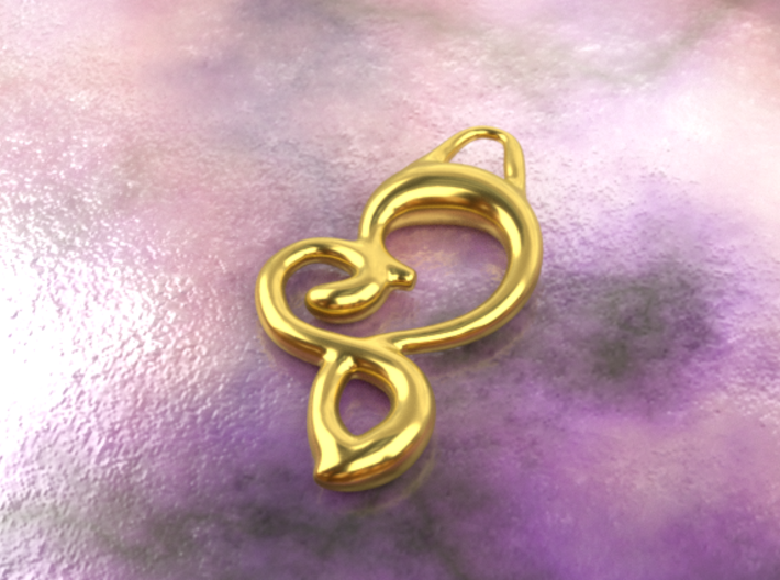 Twisted heart 3d printed gold material