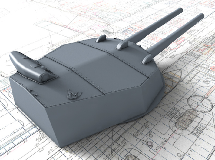 """1/600 HMS Australia/New Zealand 1914 12"""" MKX Guns  3d printed 3d render showing Turret P, Q and Y  detail"""