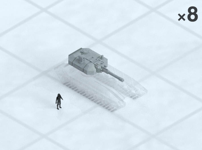 "6mm Manned MBT Turrets (8) 3d printed Shown on 1"" grid with 6mm figure (not included) for scale."